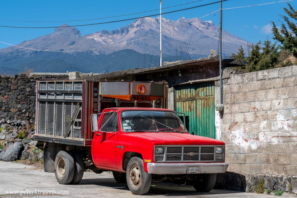 Red truck and Iztaccihuatl