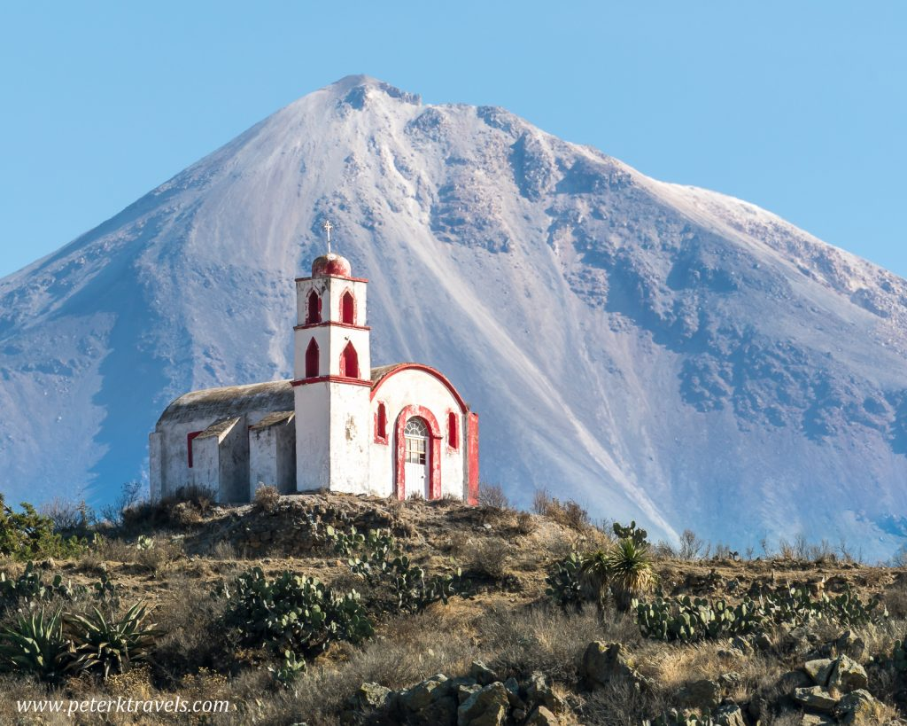 Hilltop chapel and Pico de Orizaba
