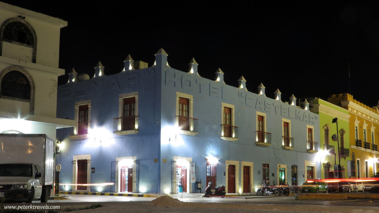 Castelmar Hotel at night.