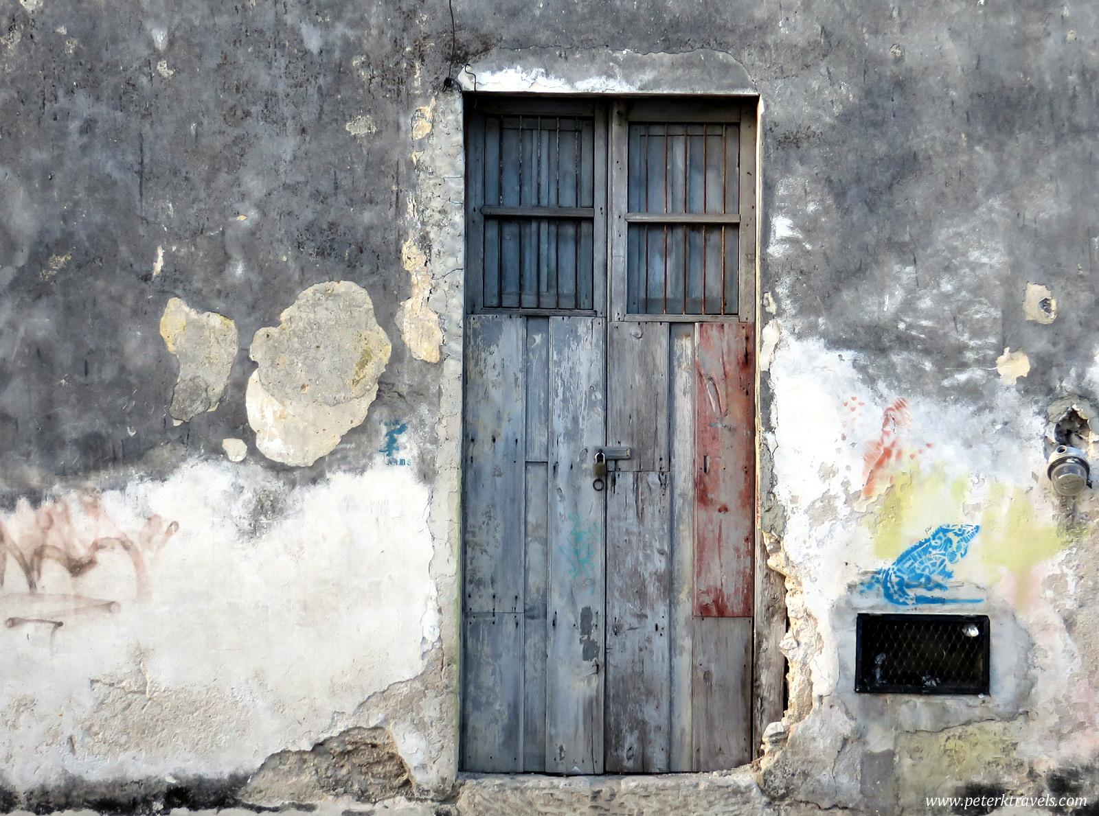 Distressed door.