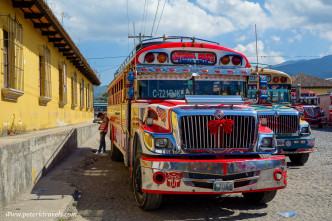 Texting from the shadow of a chicken bus, Antigua Guatemala.