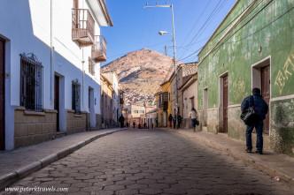 Street view with Cerro Rico, Potosi