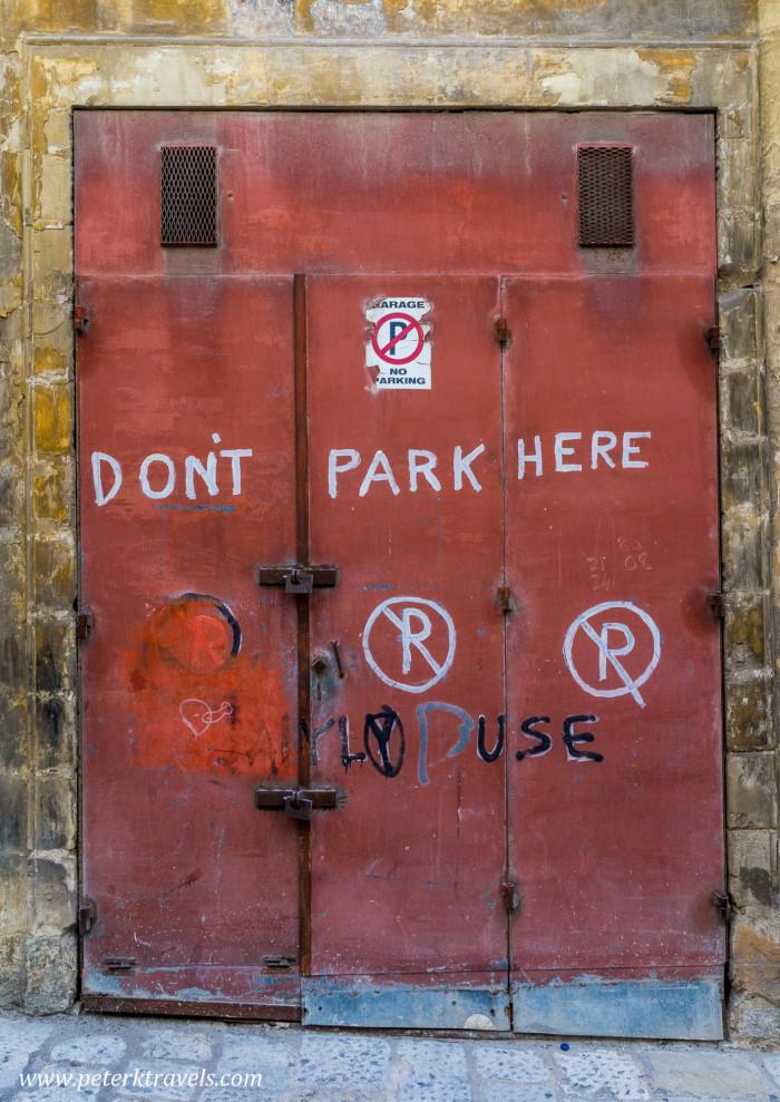 Don't park here -- Valletta.