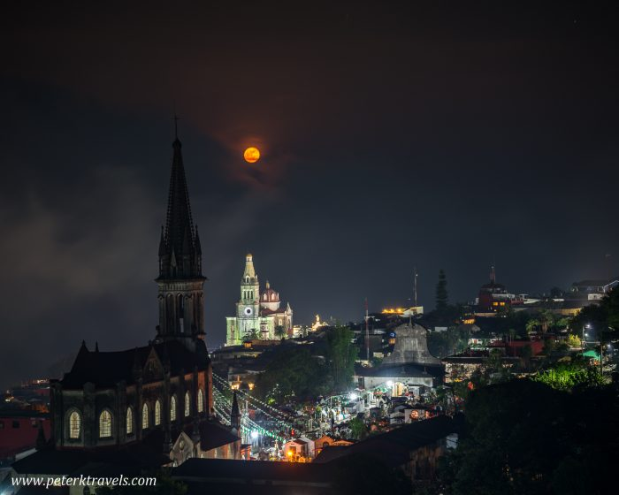 Churches with full moon, Cuetzalan.